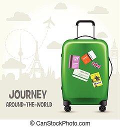 märken, affisch, resa, -, resväska, turism, milstolpar, europe