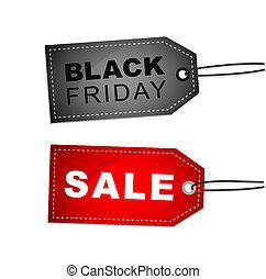 märken, fredag, försäljning, etikett, svart, befordran, röd