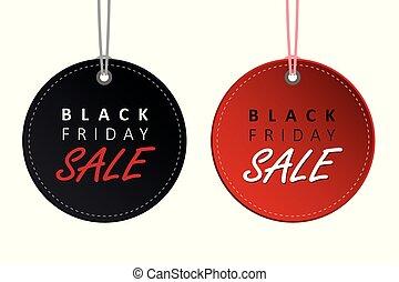 märken, fredag, försäljning, etikett, svart, hängande, befordran, röd