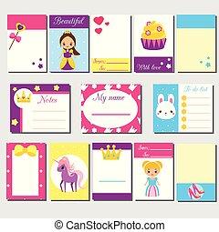märken, söt, lurar, mall, noteringen, kort, etiketter, blogs, flickor, invitations., klibbig, characters., urklippsalbum, skrivpapper, klistermärken, prinsessa