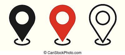 märken, .vector, illustration, nymodig, lokalisering, vit, icons., karta, bakgrund., sätta