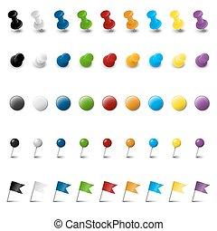 märkning, nio, färgad, kollektion, tillbehör