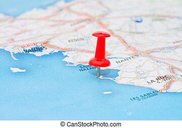 märkning, röd, pushpin, lokalisering