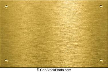 mässing, eller, brons, metall tallrik, med, fyra, nitar