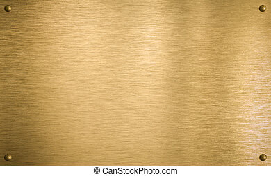 mässing, eller, guld, metall tallrik, med, fyra, nitar