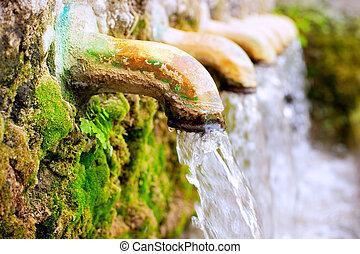 mässing, fontän, vatten upphov, fjäder
