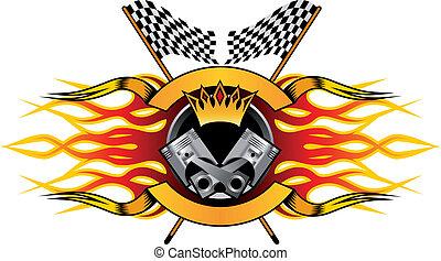 mästerskap, tävlings-, motor, ikon