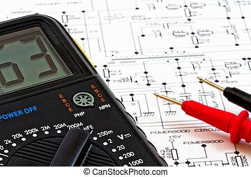 mätande redskap, och, elektrisk, diagram, av, den, mätning,...
