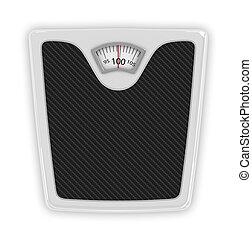 mätning, badrum, begrepp, omkring, vikt, våg., tejpa, svept