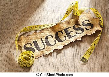mätning, för, framgång, begrepp