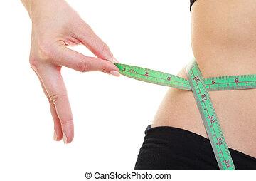 mätning, kropp, kvinna, loss., vikt, grön, tejpa