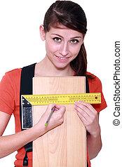 mätning, laminate, kvinna, golvmaterial, bredd