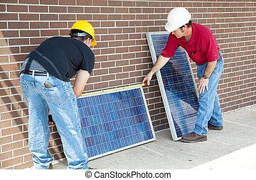 mätning, photovoltaic, paneler
