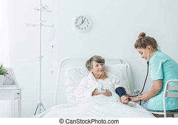 mätning, tryck, blod, carer