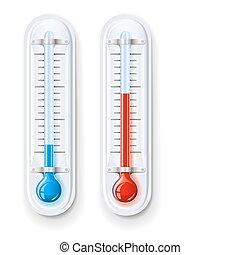 mätning, varm, kall, temperatur, termometer