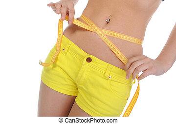mätning, waist., kvinna, ung, sports