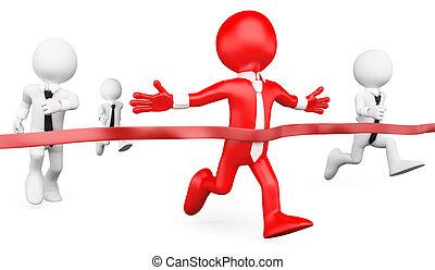 mål, folk., væddeløb, forretningsmand, hvid, 3