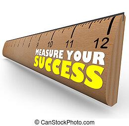 mål, linjal, granska, fastställa, tillväxt, mått, framsteg, ...