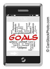 mål, ord, moln, begrepp, på, touchscreen, ringa