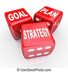 mål, tre, strategi, plan, ord, röd, tärningar