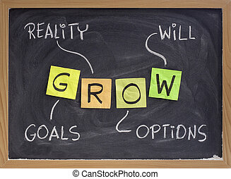 mål, virkelighed, valgmuligheder, vilje