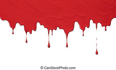 måla, drypande, röd