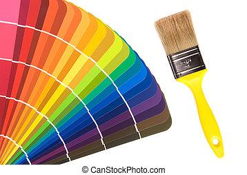 måla, färg, kort, och, borsta