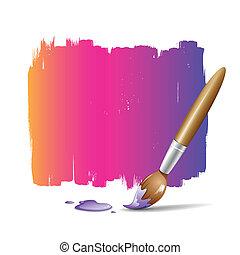 måla, färgrik, borsta, bakgrund