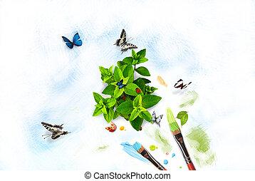 måla, natur