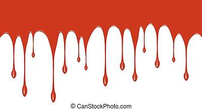 måla, ner., droppande, röd, utrymme