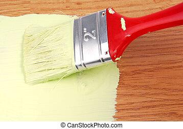 måla, på, trä, yta