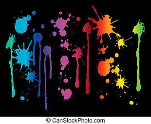 måla, spektrum, stänka ner