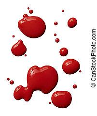 måla, stänk, röd
