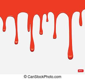 måla, vektor, seamless, röd, drypande