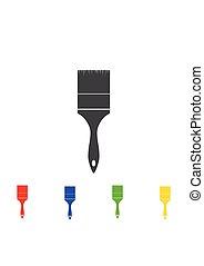 måla, verktyg, isolerat, illustration, bakgrund., vektor, borsta, vit, ikon