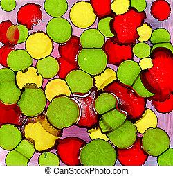 målad, abstrakt, gula gröna, fläckar, röd