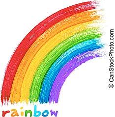 målad, akryl, vektor, avbild, regnbåge