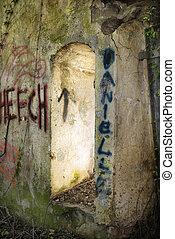 målad, dörröppning, graffiti., bespruta