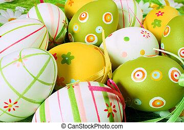 målad, färgrik, påsk eggar