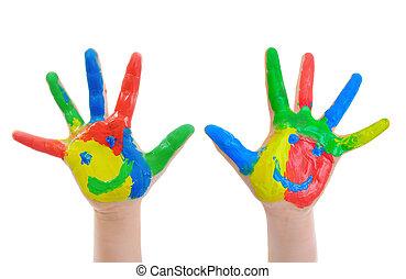 målad, hand, barn