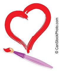 målad, hjärta, målarpensel