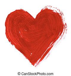 målad, hjärta