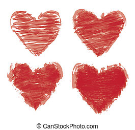 målad, hjärtan