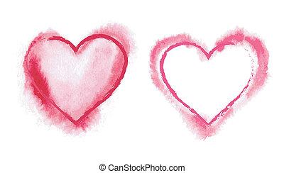 målad, hjärtan, röd