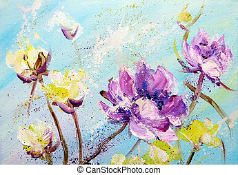 målad, purpurfärgade blommor, gul, hand