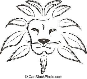 målad, slaglängder, lejon