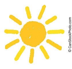 målad, sol, illustration