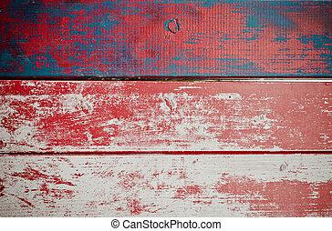 målad, trä, grunge, struktur, bakgrund