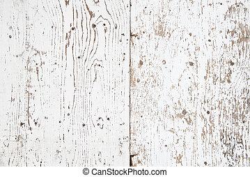 målad, trä, vit, gammal, struktur