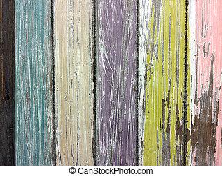målad, ved, slitet, ladugård